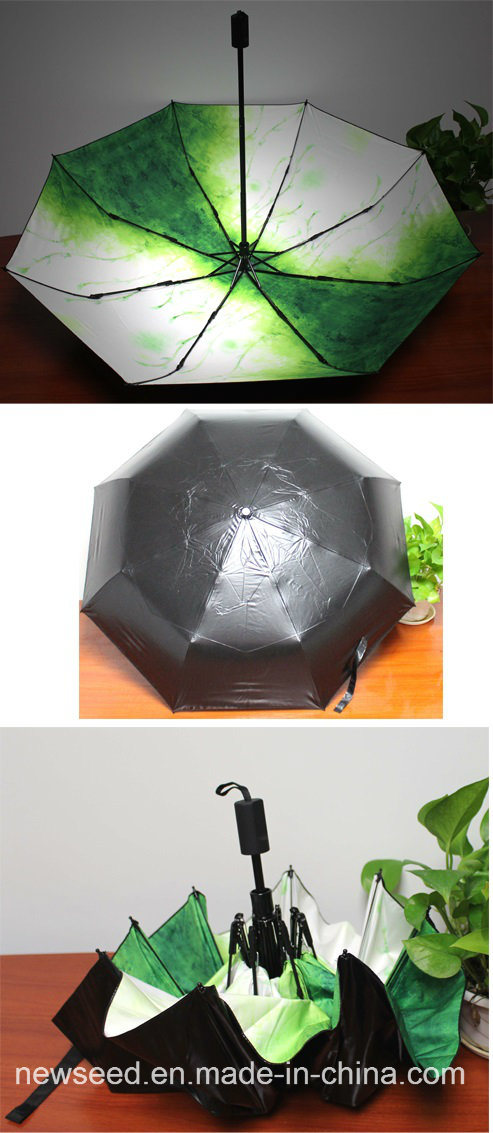 """Auto Foldable 21"""" Colorful Printing and Silver Coating Umbrella"""
