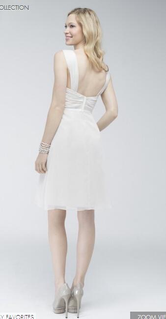 Short White Nice Bridesmaids Dress with Shirred