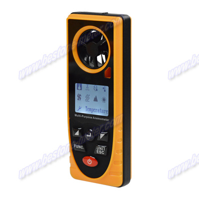 Multi-Purpose Anemometer, Air Velocity, Wind Speed Meter, Thermometer, Anemograph, Arometric Pressure, Altitude, Illumination Be8910
