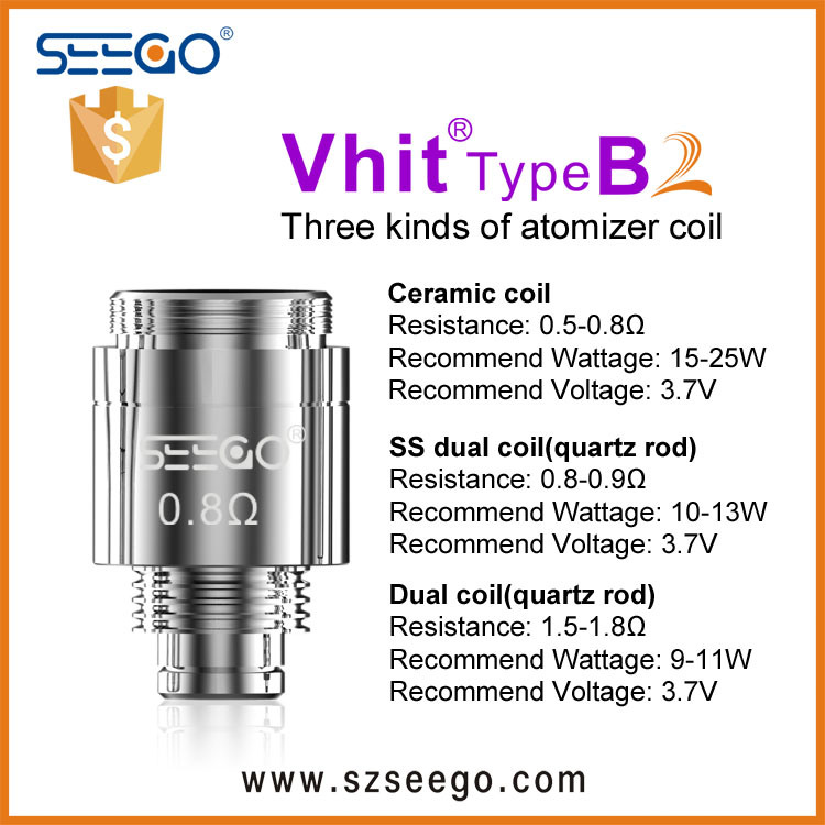 Seego Promotion 510 Thread Wax & Dry Herb Vaporizer Heating Ceramic Dual Quartz Coil for DAB Pen