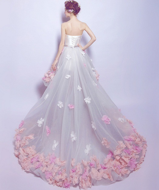 Lace Flowersshort Before After Longsmall Tail Wedding Dress