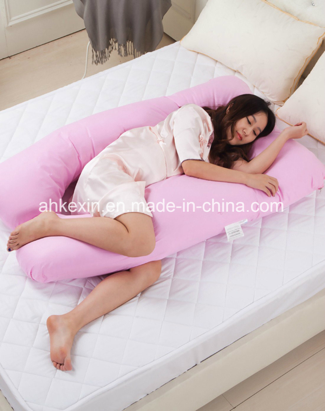 U-Type Shape Pregnancy Pillow with Cotton Fabric
