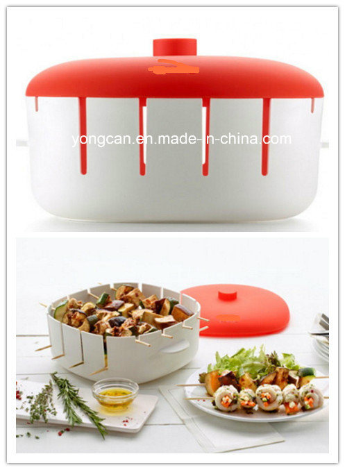 Food Grade Plastic Silicone Microwave Brochette Container