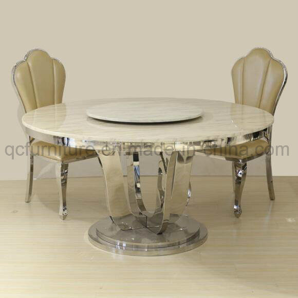 China Modern Design Marble Top Rotating Round Dining Table Photos
