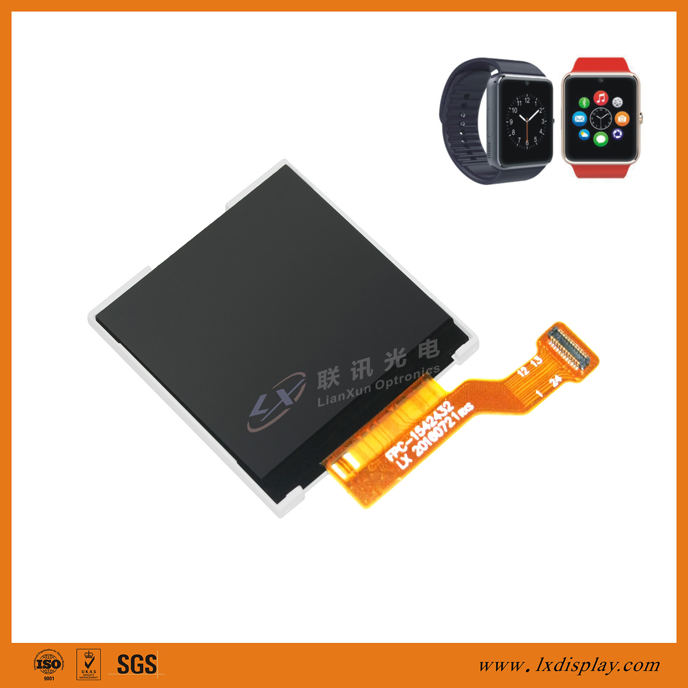 "China TOP 3. LCM Supplier for Wearable Devices 1.54"" 240X240 LX154A2432"