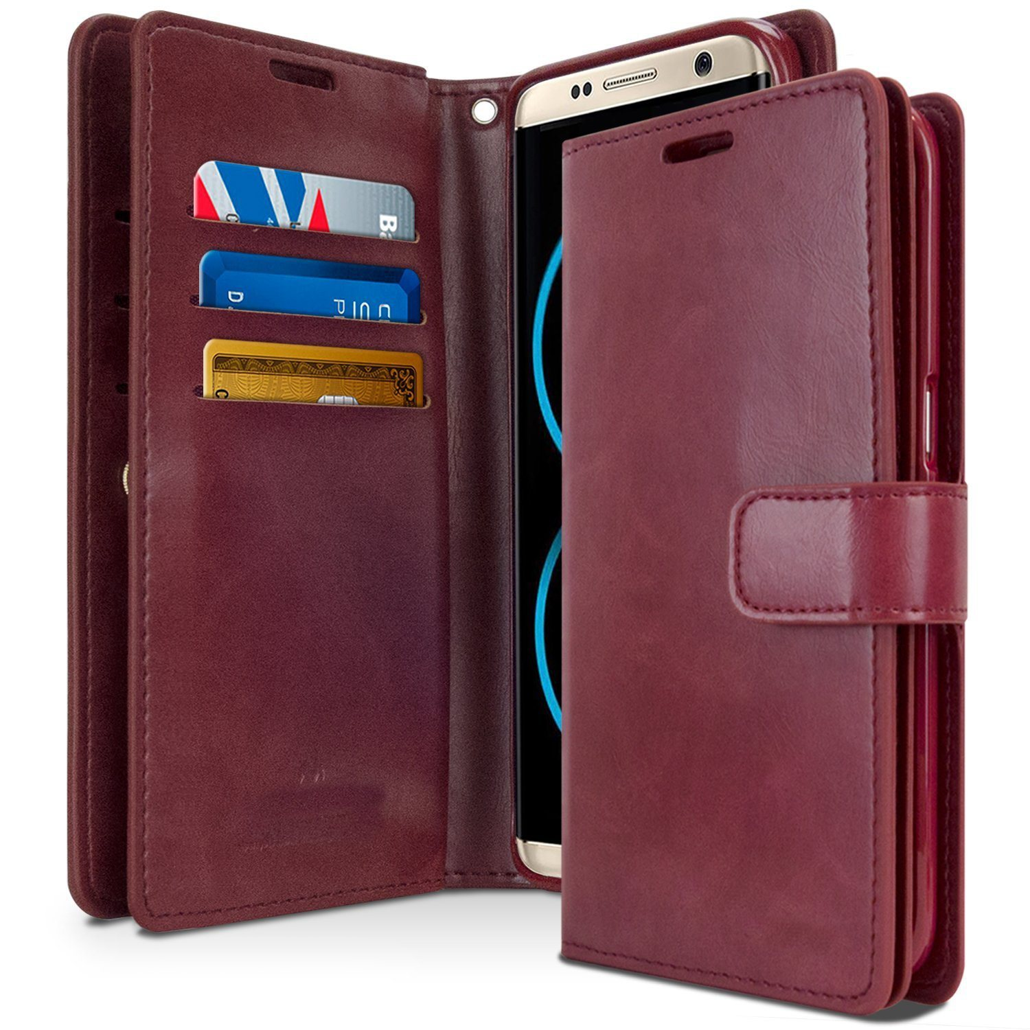 PU +TPU Leather Double Sided Wallet Shockproof Case for Samsung S8 Plus