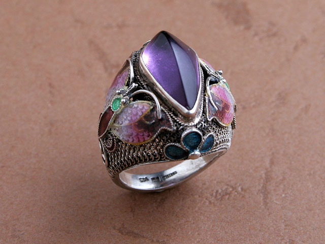 China artisan crafted sterling silver ring br010 china amethyst