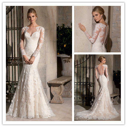 China hot sale lace mermaid long sleeve wedding dress for Long sleeve lace wedding dresses for sale