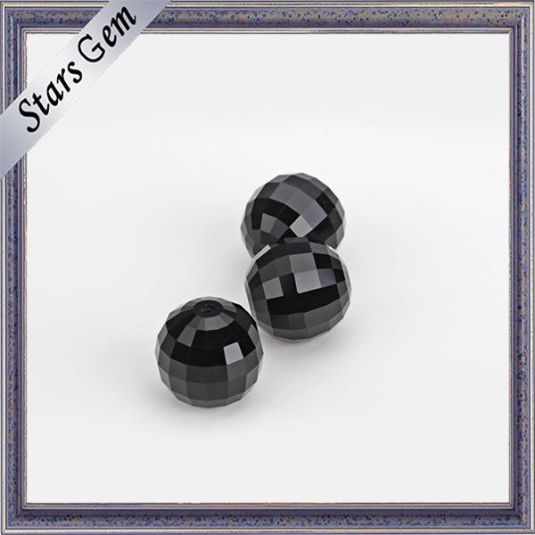 Black Brilliant Checker Cut Crystal Glass Beads for Bracelet