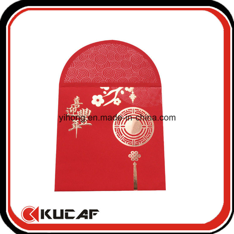 Custom Hot Stamping + Embossing Soft Touch Red Paper Envelope