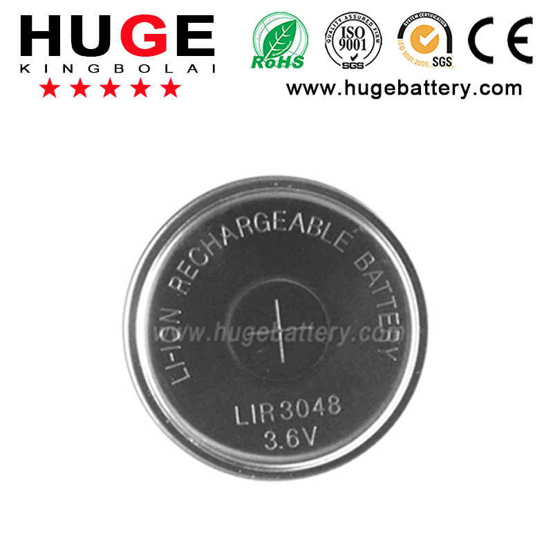 High Capacity Rechargeable Li-ion Button Cell LIR3048