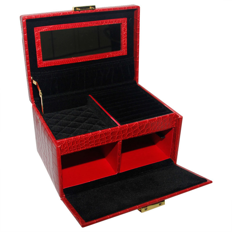 Red PU Leather Wooden Jewelry Box