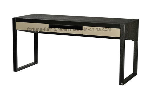 Wooden UV Black /Black & High Gloss Khaki Computer Desk with Two Drawers (I&D-N70401)