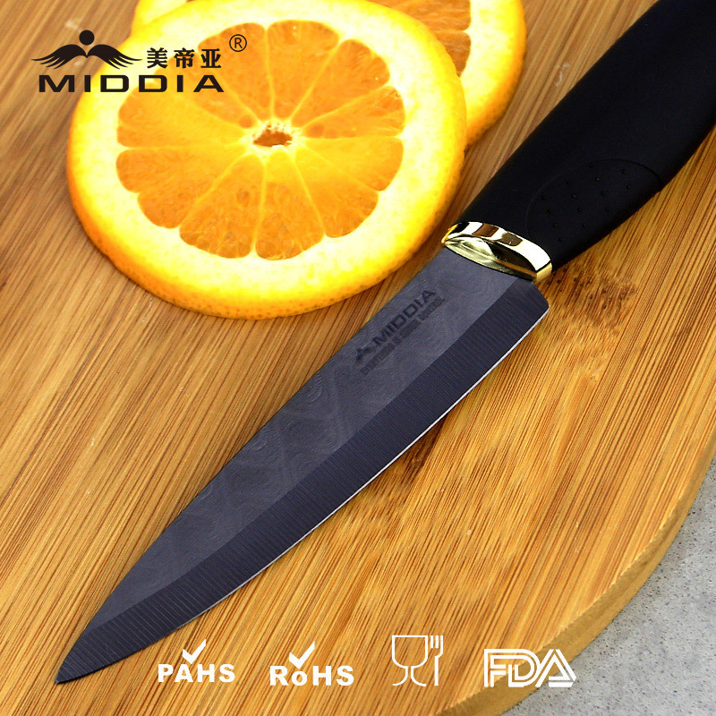 4 Inch Black Blade Kitchen Ceramic Fruit/Paring Knife with Elegant Handle