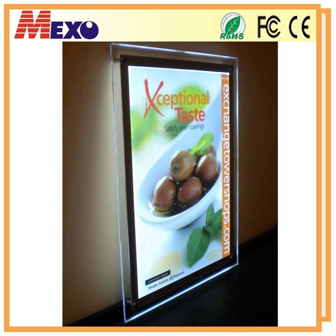 Wall Mounted Advertising Display LED Acrylic Poster Frame