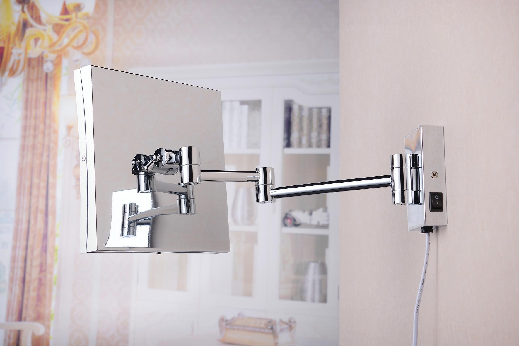 2015 New Square Folding Ajustable Wall LED Bathroom Mirror