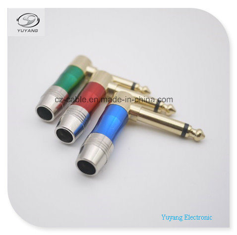 6.35mm/6.35 (1/4 inch) Mono Plug/Adapter for Microphone/Speaker/Loud-Speaker, Right Angle