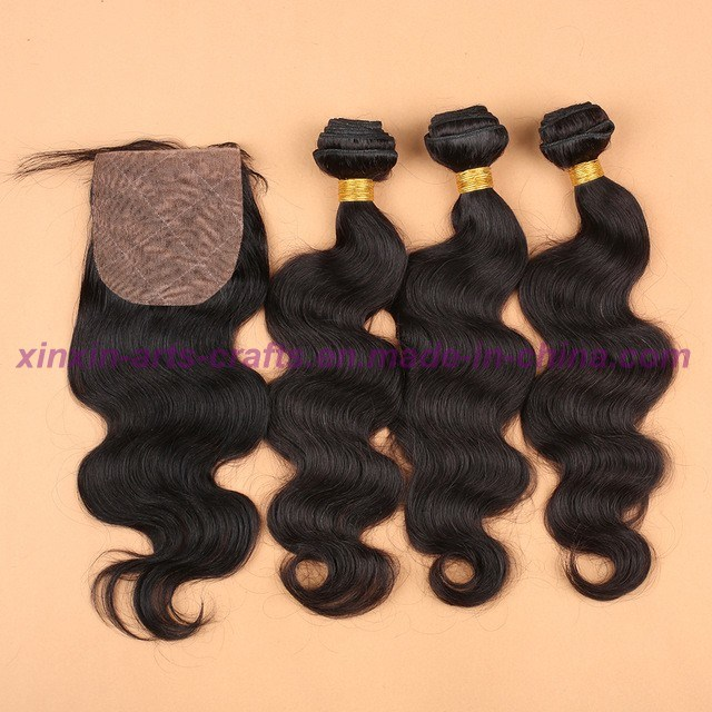 8A Unprocessed 100% Human Hair Virgin Malaysian Body Wave Bundles with Silk Base Closure