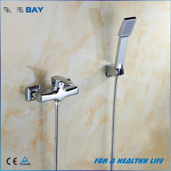 Wall Mounted Brass Chrome Bath Shower Mixer with Hand Shower