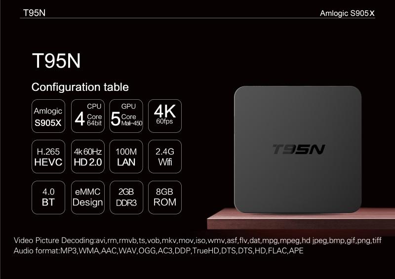 T95n Mini M8s 2+8GB Amlogic S905 Andriod 6.0 TV Box Kodi 16.0