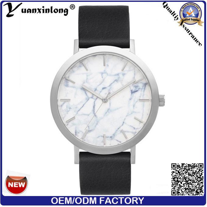 Yxl-092 Marble Stone Watch Face Stainless Steel Watch Case Genuine Leather Fashion Watch Vogue Elegant Ladies Watch Wholesale