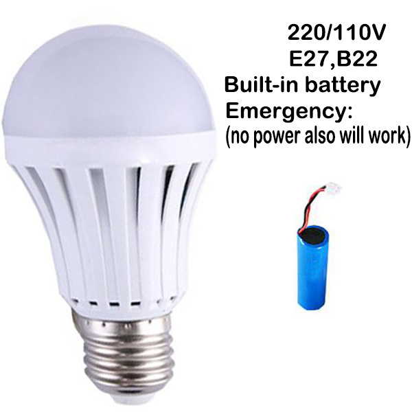 220V 110V E27 B22 LED Emergency Energy Saving 5W LED Ball Bulb Light