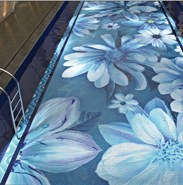 Swimming Pool 3D Blue Pool Tile