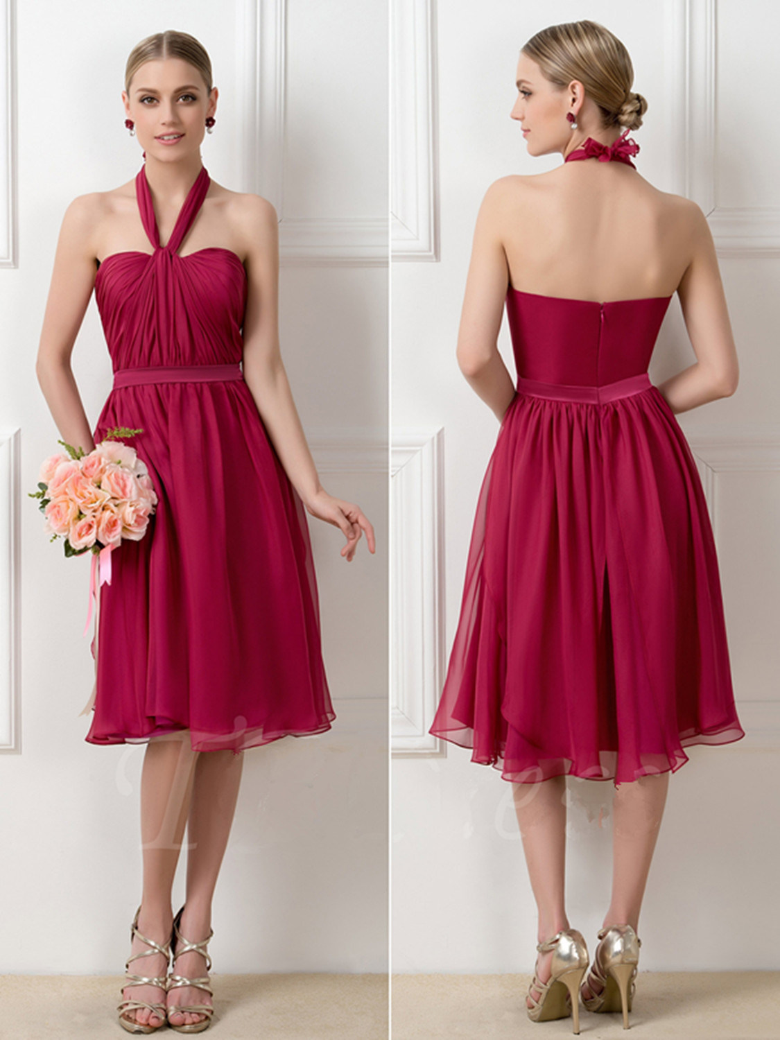 A-Line Tea-Length Convertible Short Burgundy Bridesmaid Dress (Dream-100019)