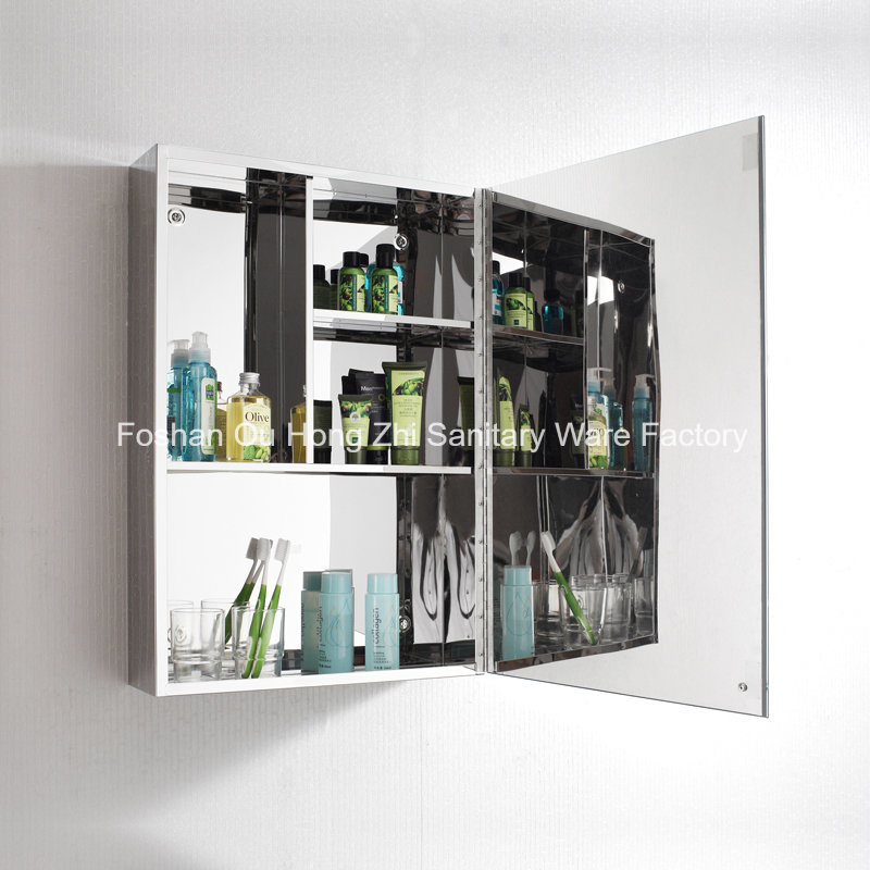 Modern Stainless Steel Bathroom Mirror Cabinet Single Door Storage Unit