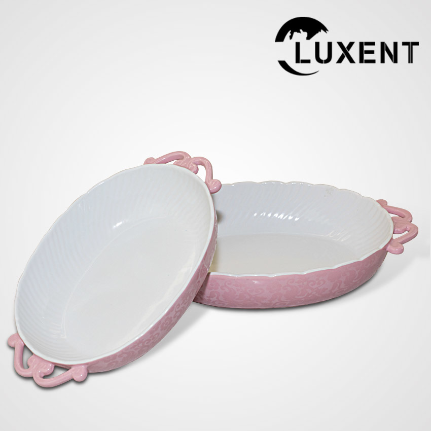 Modern Ceramic Oval Wavy Shape Fruit Baking Tray with Ears