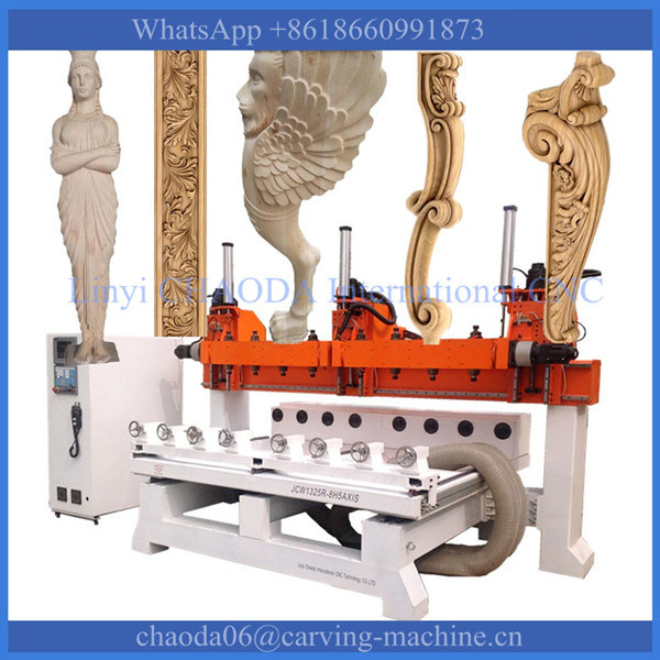 CNC Router 5 Axis CNC Wood Carving Machine for 3D Corbel Pilaster Capital Column Antique Furniture Leg Lion Baluster Stair Statue Figure Sculpture