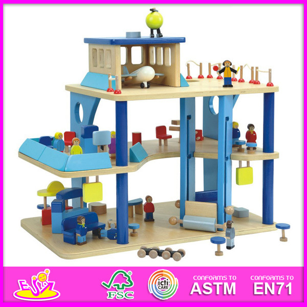2014 Top New Cute Kids Popular Lovely Children Fashion DIY Wooden Doll House for Age 3+