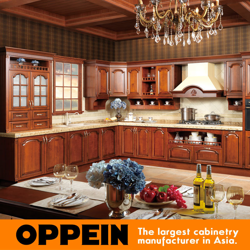 China oppein antique red cherry solid wood kitchen cabinet for Antique red kitchen cabinets