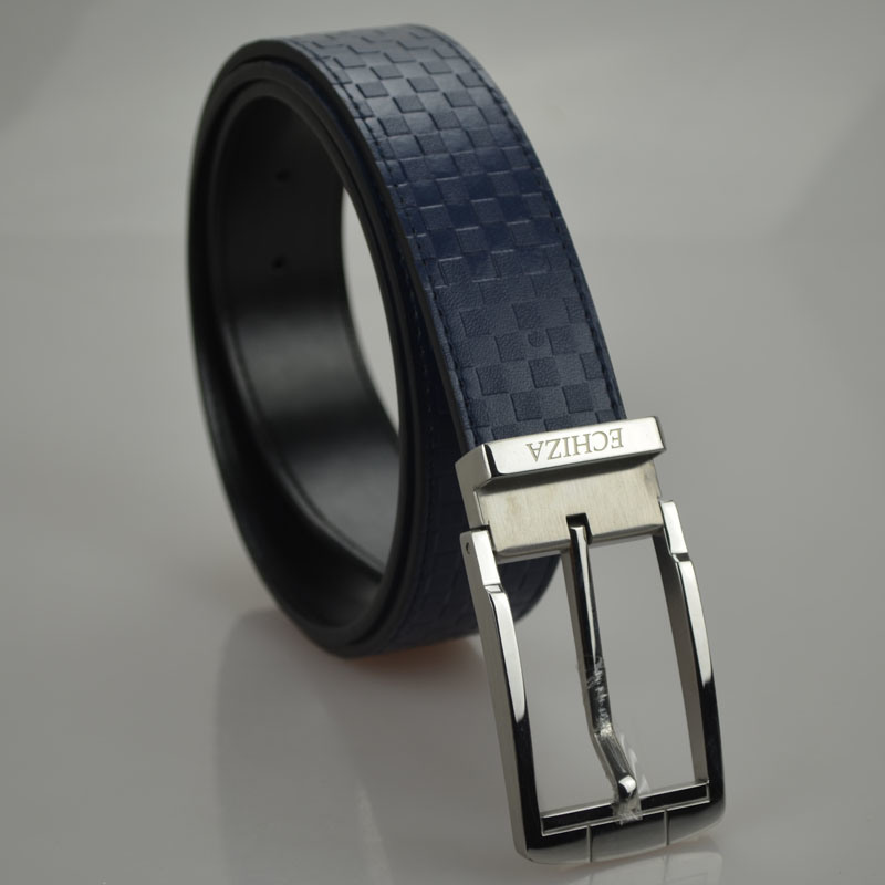 Tailor Smith Men′s Genuine Leather Belt Top Quality Navy Plaid Pattern Strap Belts