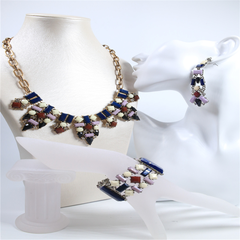 New Item Resin Colorful Jewellery Set Fashion Jewelry Necklace Bracelet Earring