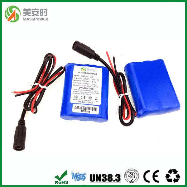 12V 2600mAh Pack with Hsanyo Li Ion Battery