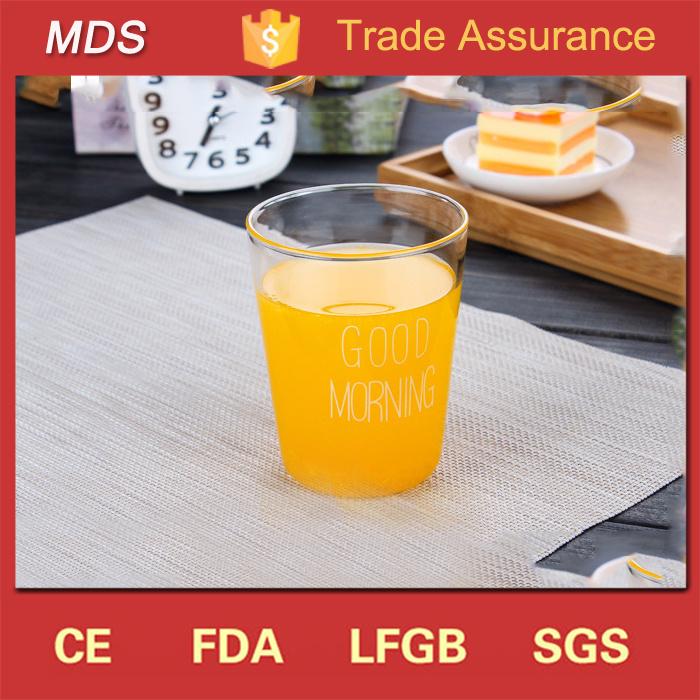 Custom Style Borosilicate Japanese Milk Cup/Breakfast Glass Cup