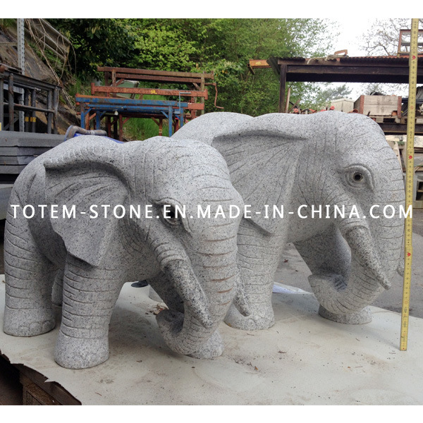 Natural Granite Stone Animal Lion Carving Statue / Sculpture for Garden