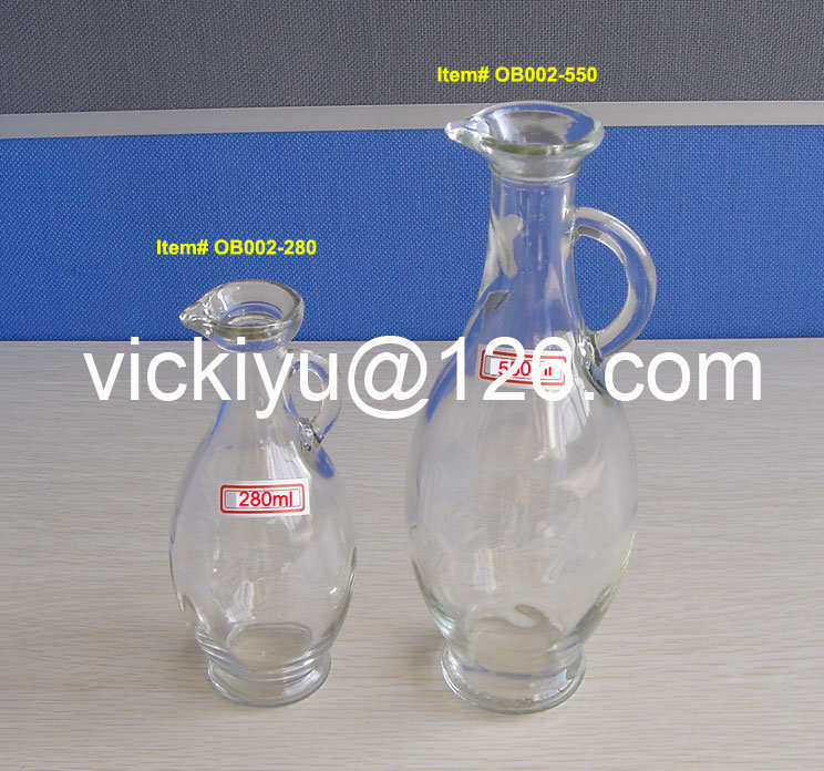 Transparent Oval Glass Bottles Glass Olive Oil Bottles 250ml, 500ml