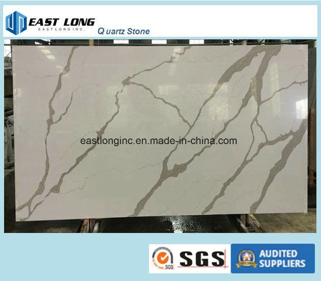 Ce & SGS Certificate Calacatta Quartz Slab Solid Surface for Kitchen Countertop/ Table Top/ Building Material
