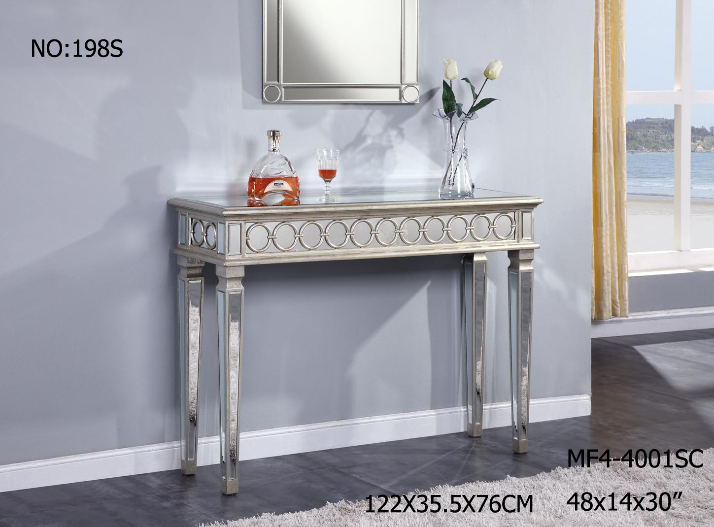Wooden Golden Console Table with Clear Mirror