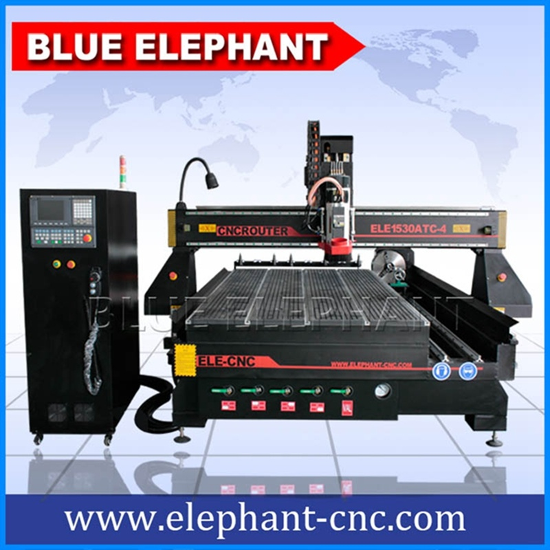 Ele 1530 3D Wood Cutting Machine, 4th CNC Wood Machinery with Auto Tool Changer Controller