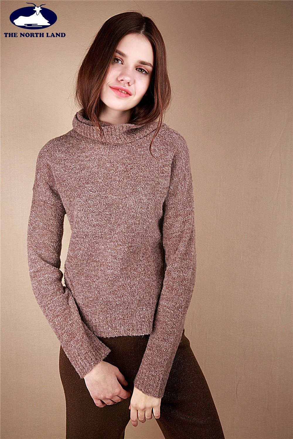 Cashmere Loose Neck Pullover with Fancy Yarn-Cashmere Sweater-Sweater