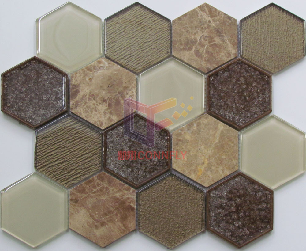 Light Emperador Marble Mix Cracked Ceramic Crystal Mosaic Tile for Decoration (CS252)