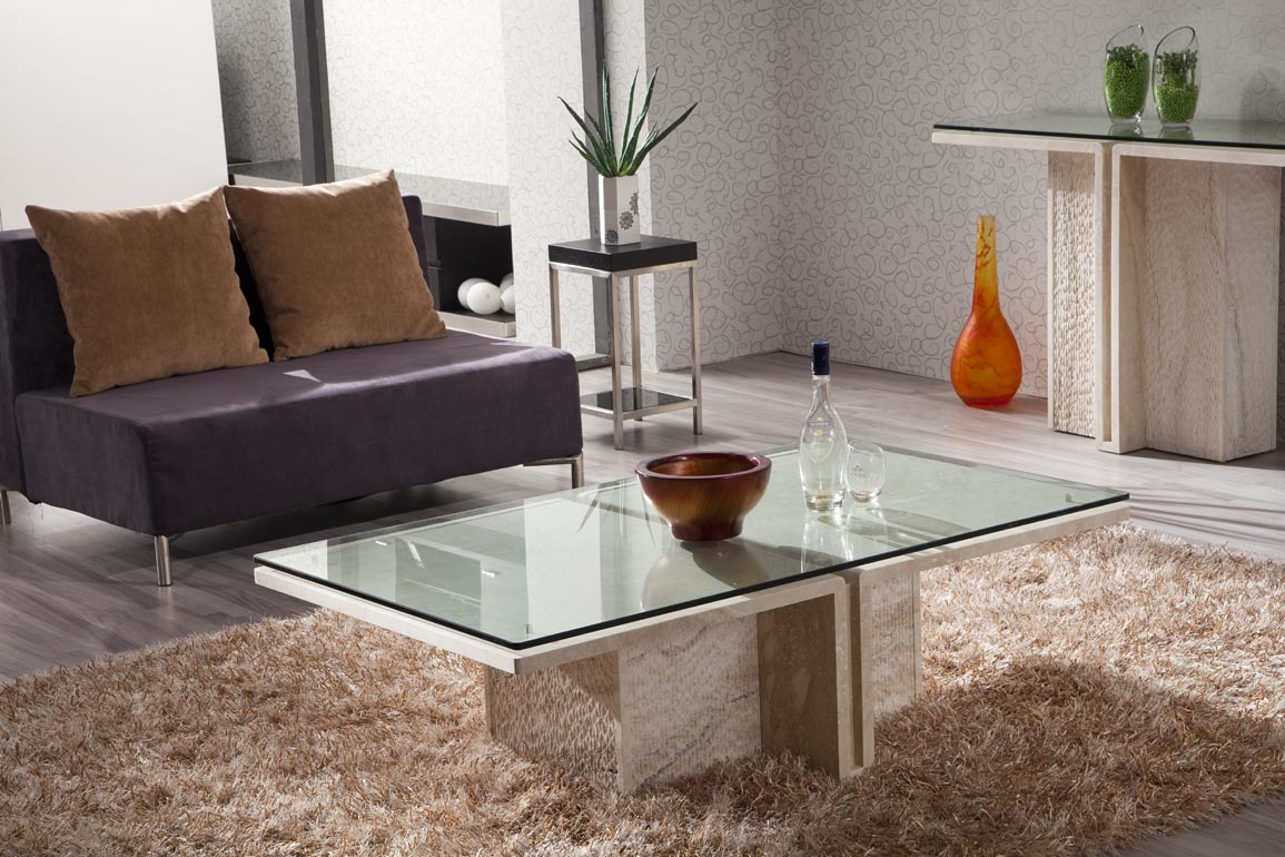 China Marble Center Table With White Tempered Glass D8822