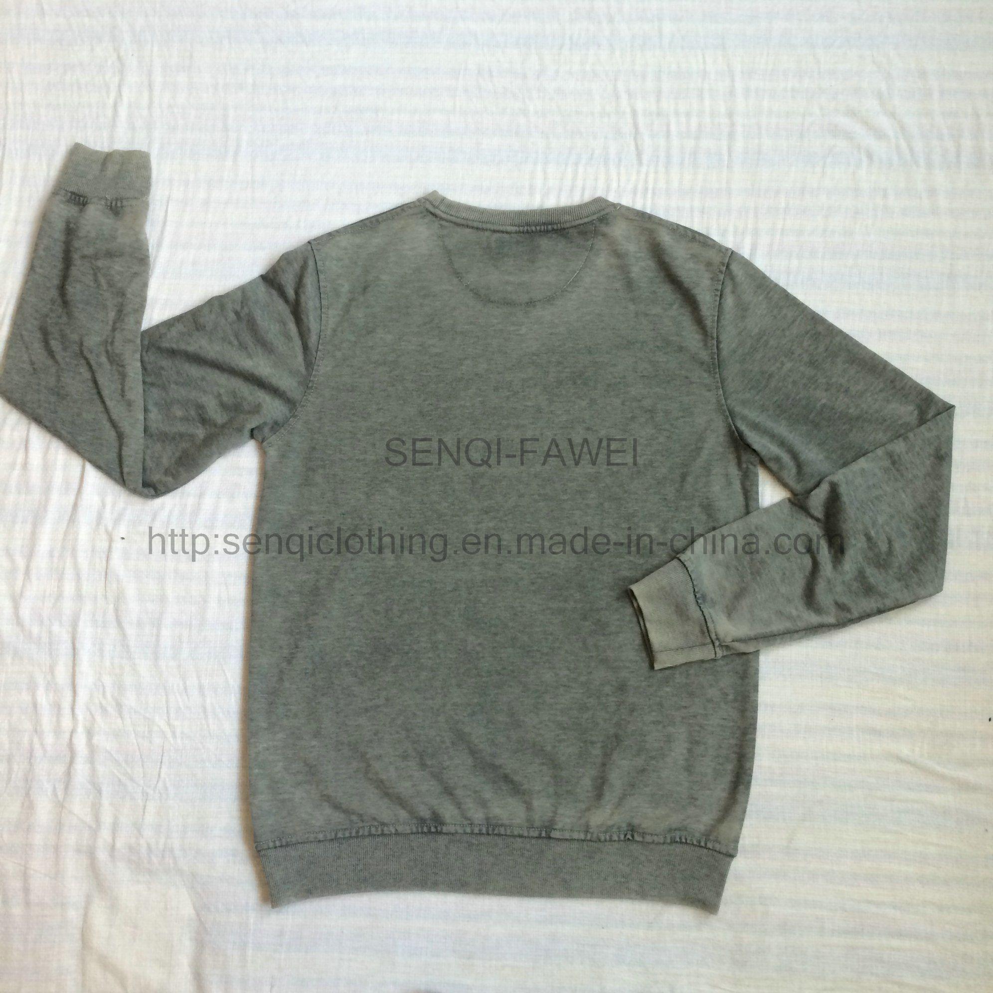 Man Grey Premium Dyed Round Neck Sweatshirt in Sport Knit Wear Jumper Clothes Fw-8667