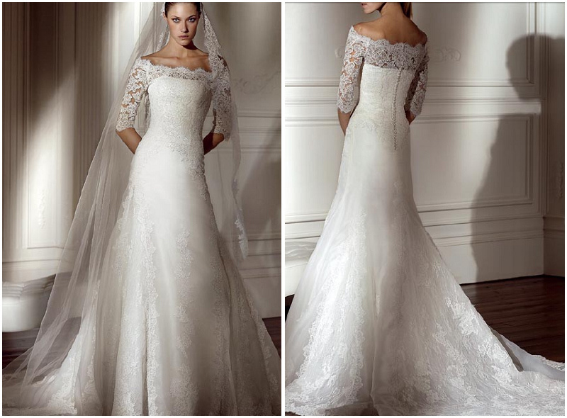 A Line Lace Wedding Dress : China strapless a line lace wedding dress hs