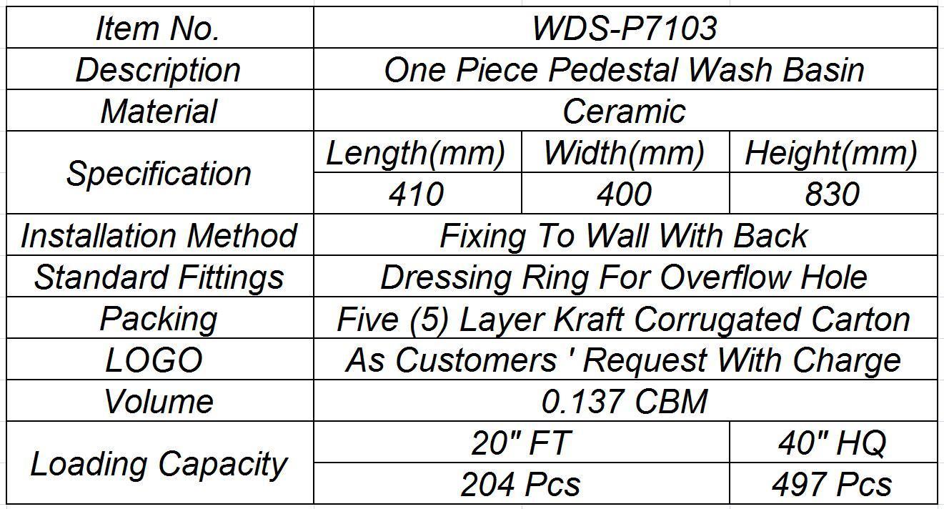 Weidansi Ceramic Wash Pedestal Basin Wash Sink (WDS-P7103)