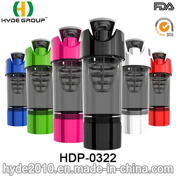 600ml BPA Free Wholesale Protein Shaker Bottle, Plastic Powder Shaker Bottle (HDP-0322)