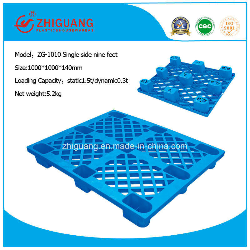 Warehouse Equipment 1000*1000*140mm HDPE Nine Feet Plastic Pallet to Storage and Clean